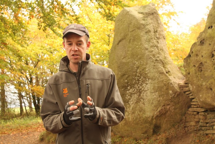 Tomb of Wayland's Smithy explained by our National Trust Ranger Andy Foley. White Horse Hill and Ashdown Park, Uffington. October 2011.