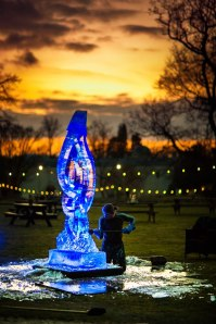Ice sculpture. Luminaries Woburnensis. Woburn Abbey. February 2012.