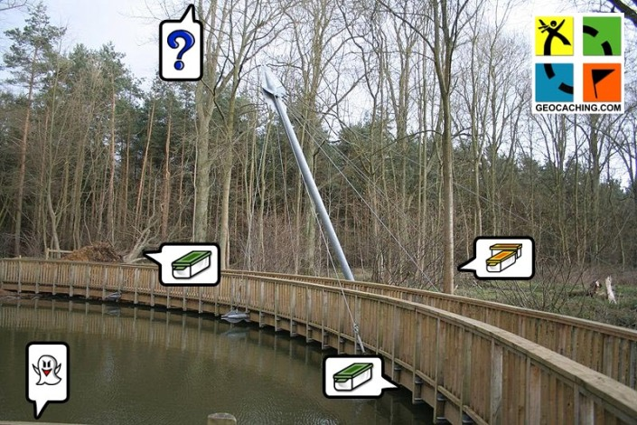 Geocaching at Salcey Forest. Salcey Forest Bridge elephant pond. By Robert Kilpin (modified from Wikipedia)