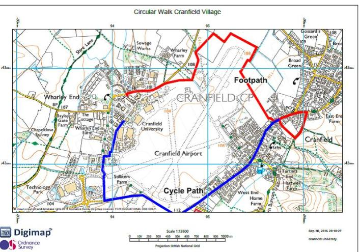 Circular map of routes to Cranfield village